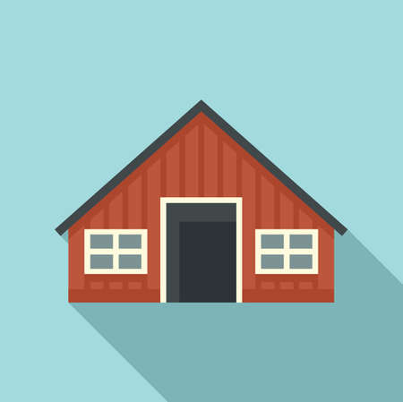 Sweden wood house icon, flat style