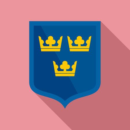 Swedish shield icon, flat style