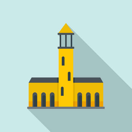 Swedish old building icon, flat style