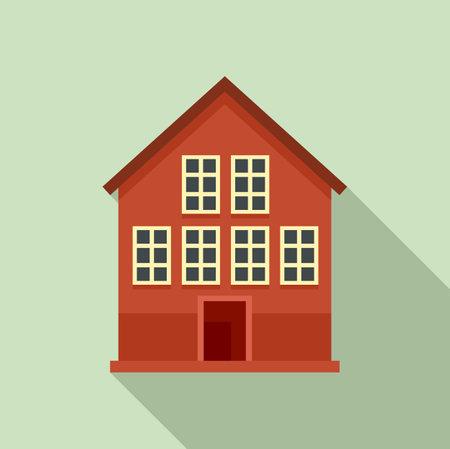 Wood swedish house icon, flat style