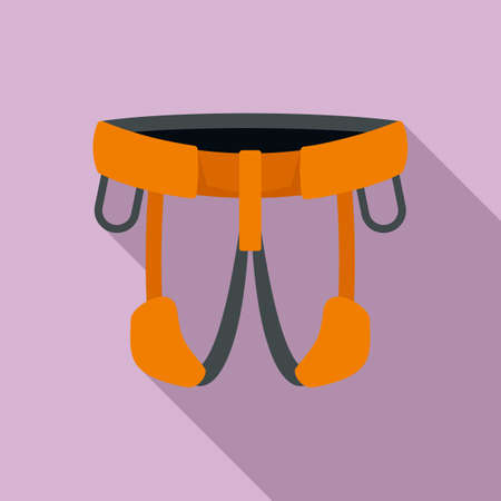 Industrial climber belt icon, flat style