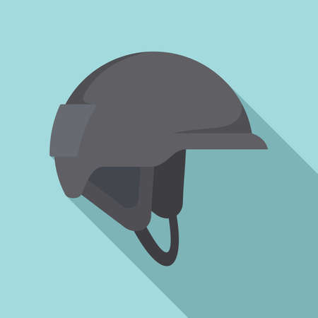 Industrial climber helmet icon, flat style