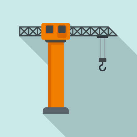 Industrial crane icon, flat style