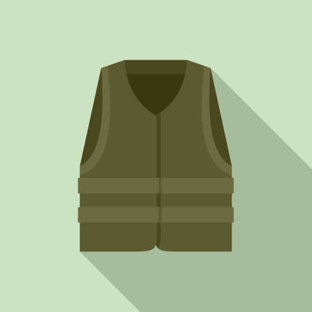 Industrial climber vest icon, flat style