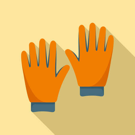 Industrial climber gloves icon, flat style