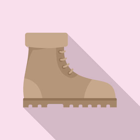 Industrial climber boots icon, flat style Ilustracja