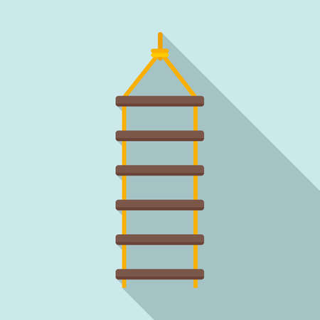 Industrial climber rope ladder icon, flat style Ilustracja