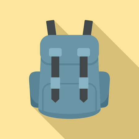 Industrial climber backpack icon, flat style Ilustracja