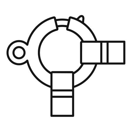 Industrial climber rings icon, outline style