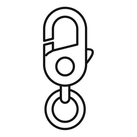 Industrial climber carabine icon, outline style