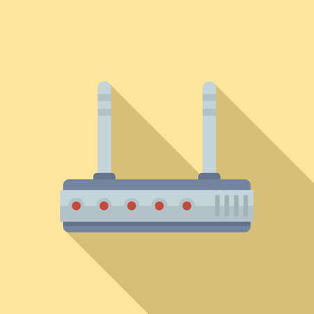 Home wifi router icon, flat style