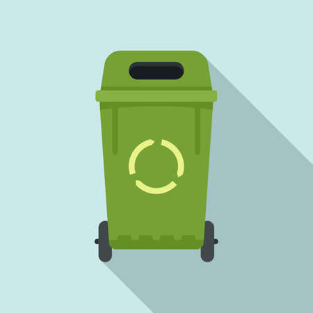 House garbage bin icon, flat style