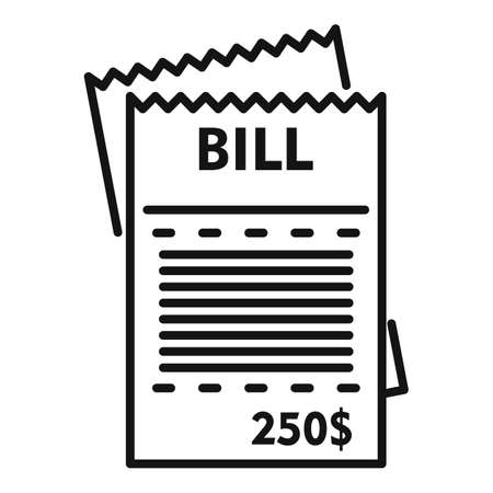 House utilities bill icon, outline style