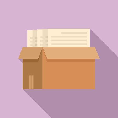 Box documents estimator icon, flat style Vektoros illusztráció