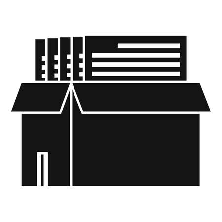 Box documents estimator icon, simple style Vektoros illusztráció