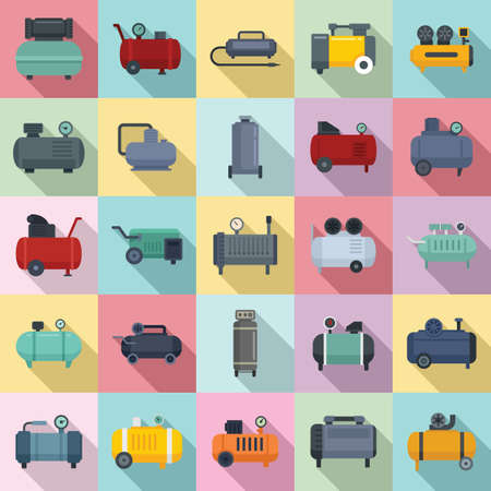 Air compressor icons set, flat style