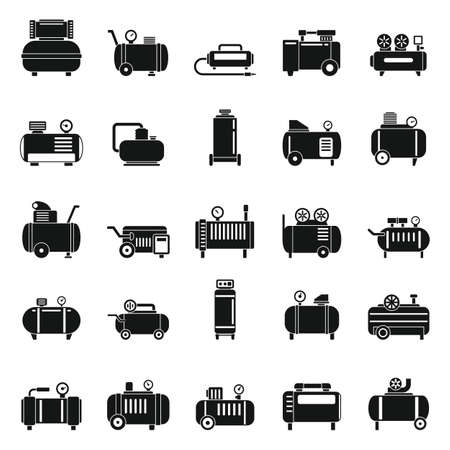 Air compressor pneumatic icons set, simple style