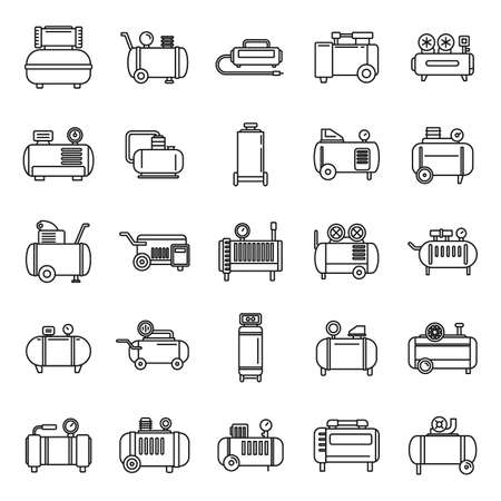 Modern air compressor icons set, outline style