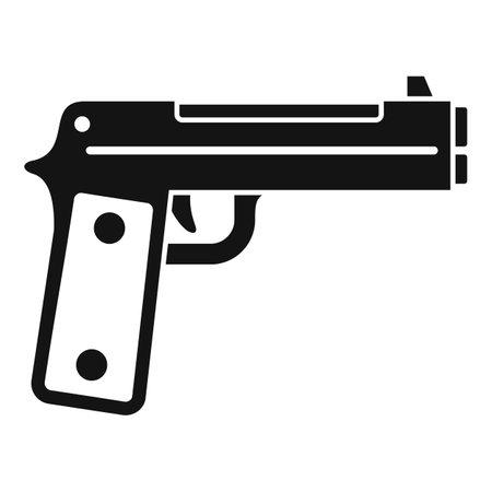Guard pistol icon, simple style