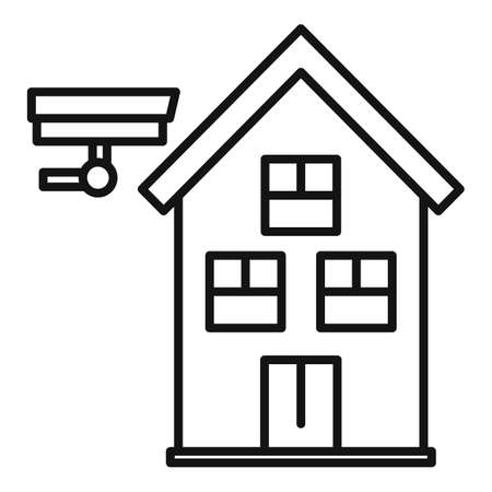 Secured home icon, outline style