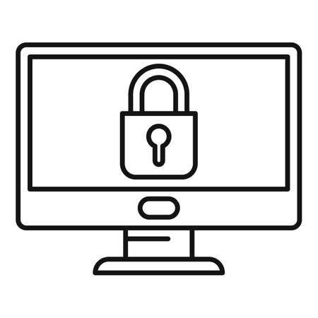 Secured monitor icon, outline style