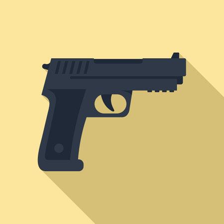 Policeman pistol icon, flat style