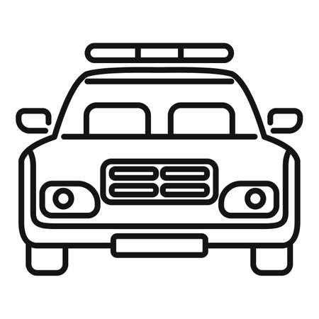 Police car icon, outline style