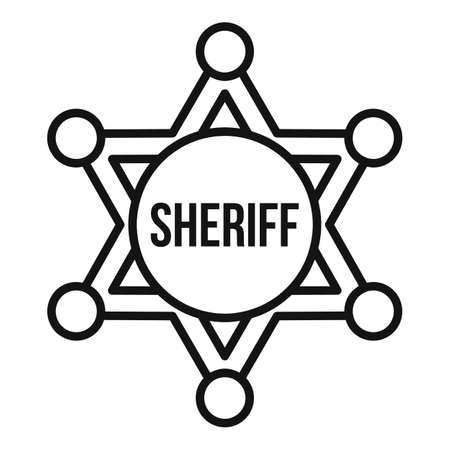 Sheriff star icon, outline style