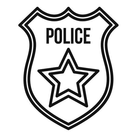 Police gold shield icon, outline style