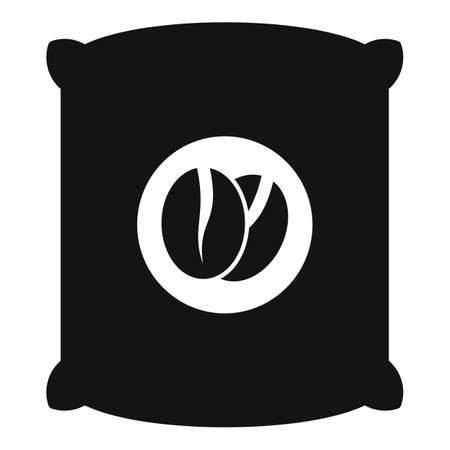 Coffee beans sack icon, simple style Illustration