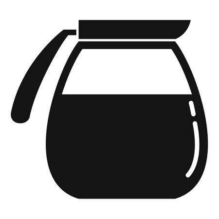 Glass hot coffee pot icon, simple style