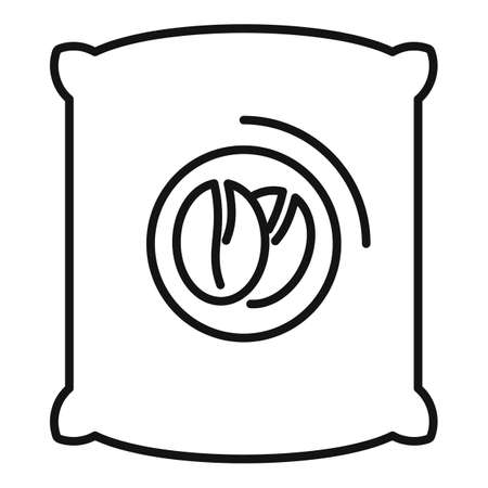 Coffee beans sack icon, outline style 矢量图像