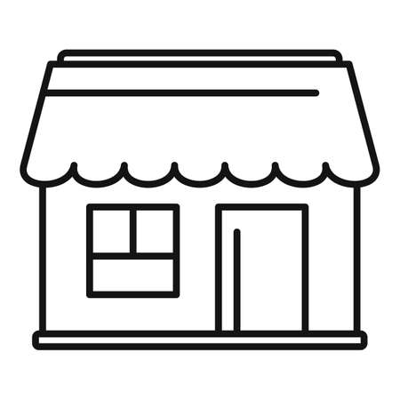 Street coffee shop icon, outline style Illustration