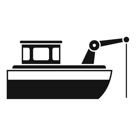 Fishing ship icon, simple style Illustration