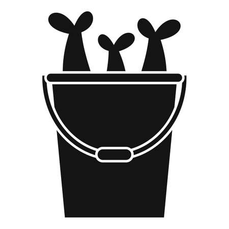 Fish in bucket icon, simple style