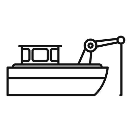 Fishing ship icon, outline style Çizim