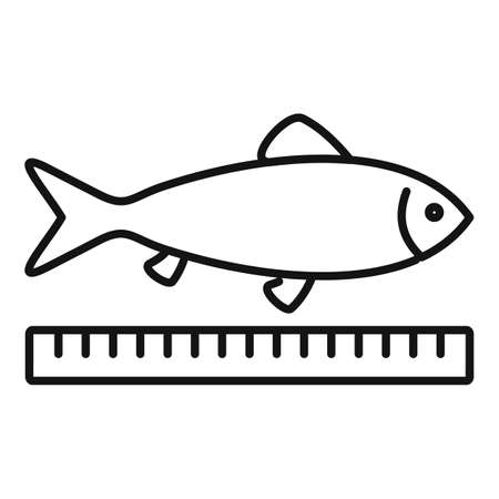 Farm fish length icon, outline style