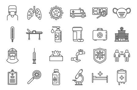 Coronavirus flu icons set, outline style