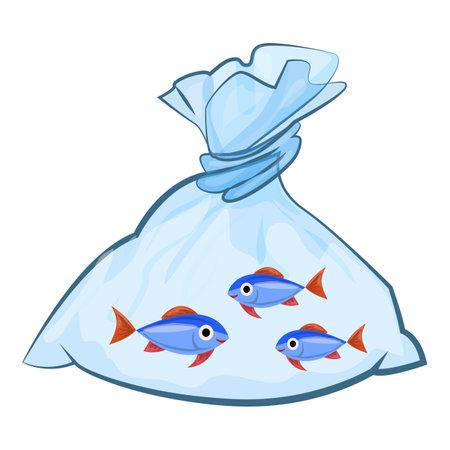 Aquarium fish package icon, cartoon style Illustration