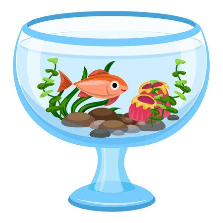 Aquarium glass transparent icon, cartoon style