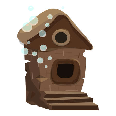Aquarium fish house icon, cartoon style