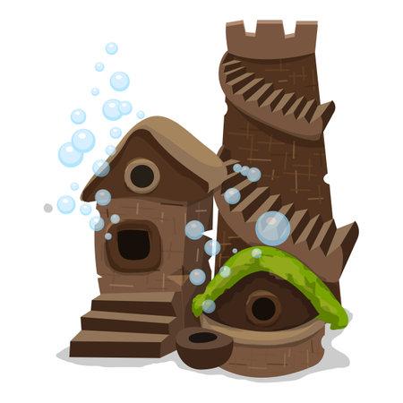 Aquarium fish castle icon, cartoon style
