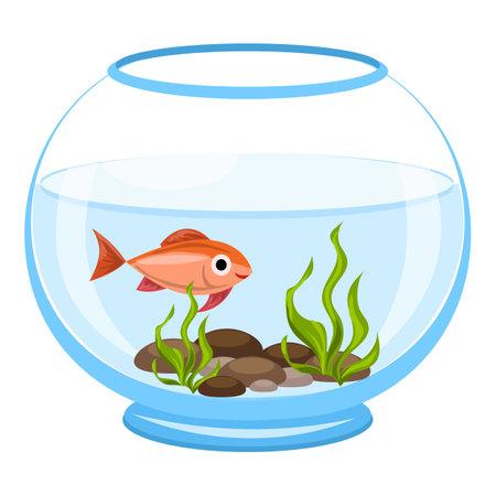 Aquarium algae fish icon, cartoon style