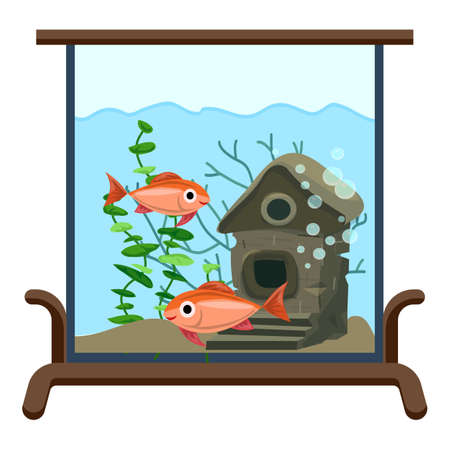 Aquarium kids room icon, cartoon style