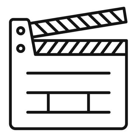 Board clapper icon, outline style Vektorové ilustrace
