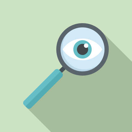 Investigator magnifier icon, flat style