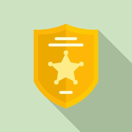Investigator police shield icon, flat style Illusztráció