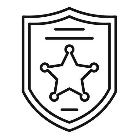 Investigator police shield icon, outline style