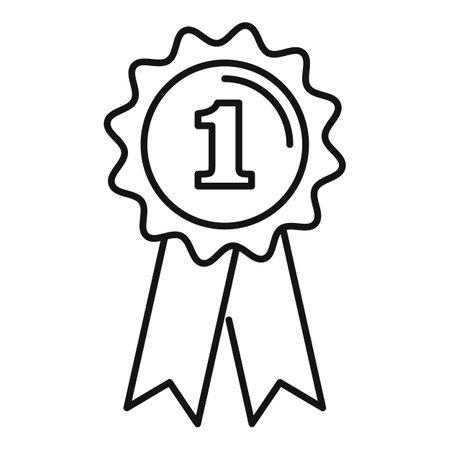 Dog gold emblem icon, outline style