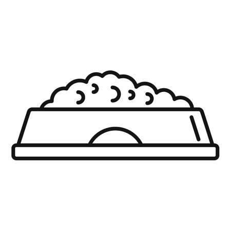 Dog food bowl icon, outline style